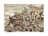 Building the Ark: Nec Mora Continuo Exequitor Noe Iussa Tonantis Giclée-Druck von Maarten de Vos