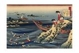 Pearl Divers (Sangi Takamura) Giclee Print by Hokusai Katsushika