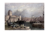 Canning Dock and Custom House of Liverpool 1841 Giclee Print by William Henry Bartlett