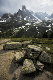 France, Alps, Mountains, Hautes-Alpes, Rocks, Stones, Summit, Rugged, Pointed, Weird, Light Photographic Print by Stefan Hefele