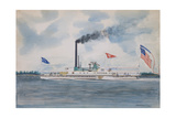 American Steamboat Utica Giclee Print by James Bard