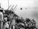 Battleship Uss Missouri with Surrendering Japanese on Deck Photographic Print