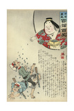 O'Fuko Throwing Beans for Good Luck and to Drive the Devils Away on New Year's Eve Giclee Print by Kobayashi Kiyochika