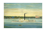 Side-Wheel Steamboat Trojan Giclee Print by James Bard