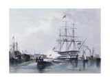 Gosport, Flagship Saulting Giclee Print by Edward William Cooke