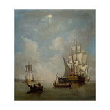 A Shipping Scene- Ship of the Line 1700-1749 Giclee Print by Peter Monamy