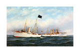 Pilot Boat New York with U.S. Cruiser Brooklyn Giclee Print by Antonio Jacobsen