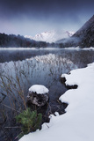 Mountains, Alps, Lake Ferchensee, Winter, Snow, Fog, Atmosphere, Blue Photographic Print by Stefan Hefele