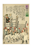 Russian Soldiers Hold the Japanese Soldiers Back Giclee Print by Kobayashi Kiyochika