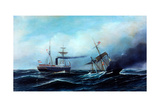 Steamship Neckar Rescuing Crew of Burning Vessel Giclee Print by Antonio Jacobsen