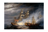Capture of La Virginie by H.M. Ship Indefatigable Giclee Print by Nicholas Pocock