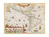 America, Circa 1588 Giclee Print by Jodocus Hondius