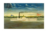 Side-Wheel Steamboat Naushon Giclee Print by James Bard