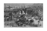 Along the Docks, New York City -- View from West Street Giclee Print by Alfred R. Waud