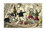 British Sailors Boarding a Greek Pirate Giclee Print by J.l. Marks