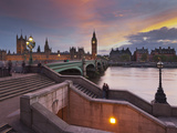 The Thames, Westminster Bridge, Westminster Palace, Big Ben, in the Evening Photographic Print by Rainer Mirau