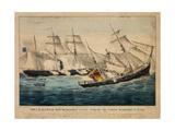 U. S. Sloop-Of-War Kearsarge Sinking the Pirate Alabama Off Cherbourg, France Giclee Print