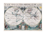 A New Map of the Terraqueous Globe According to the Ancient Discoveries 1722 Giclee Print by Edward Wells