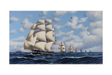The U.S. Fleet, 1845 Giclee Print by Antonio Jacobsen
