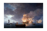 Naval Battle: Battle at the Lizard Giclee Print by Claude-Joseph Vernet
