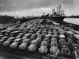 Volkswagen Beetles Lined Up on the Dock Photographic Print by Hans Marx