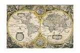 Nova Totius Terrarum Orbis Geographica Ac Hydrographica Tabula 1636 Giclee Print by Jodocus Hondius