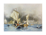 Combat De Scies Et De Baleines or Combat with Whales 1859 Giclee Print by Louis Garneray