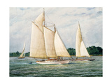 Unidentified Sloops and Schooner Yacht Giclee Print by Louis Feuchter