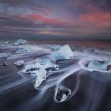 Ice Chunks on the Beach Next to Glacial River Lagoon Jškuls‡rlon (Lake), East Iceland, Iceland Photographic Print by Rainer Mirau