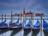 Italy, Veneto, Venice, St. Mark's Square, Gondolas, San Giorgio Maggiore, Lagoon, Evening Mood Photographic Print by Rainer Mirau