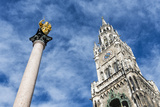 Munich, Bavaria, Germany, MariensŠule (Column) with Town Hall Tower Photographic Print by Bernd Wittelsbach