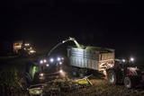 Breuberg, Hesse, Germany, Maize Harvest by Night Photographic Print by Bernd Wittelsbach