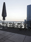 Terrace at the Elbufer, Fog in the Harbour, Holzhafen, Hanseatic City of Hamburg, Germany Photographic Print by Axel Schmies