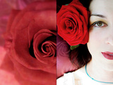 Portrait of a Woman with Red Roses as a Dyptich Photographic Print by Alaya Gadeh
