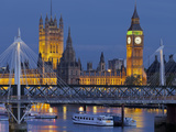 The Thames, Westminster Palace, Hungerford Bridge, Big Ben, in the Evening Photographic Print by Rainer Mirau