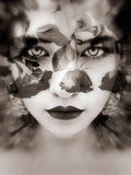 Portrait of a Woman with Roses in Sepia Monotonous Shades, Composing Photographic Print by Alaya Gadeh