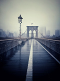 Brooklyn Bridge with Overcast Manhattan Skyline in the Background Photographic Print by  Frina