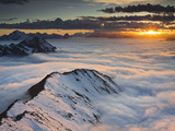 Italy, Lombardy, Stilfser Joch National Park, View from Monte Scorluzzo in Direction Engadin, Sun Photographic Print by Rainer Mirau
