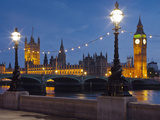 Thames Shore, Westminster Bridge, Westminster Palace, Big Ben, in the Evening Photographic Print by Rainer Mirau