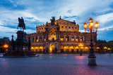 Dresden, Semperoper, King Johann Monument, Blue Hour Photographic Print by Catharina Lux