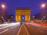 France, Paris, Arc De Triomphe, Lighting, Evening Photographic Print by Rainer Mirau