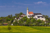Germany, Bavaria, Upper Bavaria, FŸnfseenland, Andechs, Spring Scenery with Cloister of Andechs Photographic Print by Udo Siebig