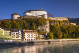 Austria, Tyrol, Kaisergebirge, Inntal (Valley), Kufstein, Innfront with Castle Kufstein in Autumn Photographic Print by Udo Siebig