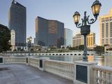 Lake Bellagio, Lantern, the Cosmopolitan Hotel, Strip, South Las Vegas Boulevard Photographic Print by Rainer Mirau