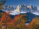 Italy, South Tirol, Villnš§tal, the Dolomites, Geislerspitzen, Trees, Autumn Photographic Print by  Thonig