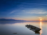 Boat Wreck in the Afterglow at Chiemsee, Bavaria, Germany, Europe Photographic Print by Dieter Meyrl