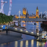 The Thames, Hungerford Bridge, Westminster Palace, London Eye, Big Ben Photographic Print by Rainer Mirau