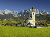 Church in Going, Wilder Kaiser (Wild Kaisr Mountain), Tyrol, Austria Photographic Print by Rainer Mirau