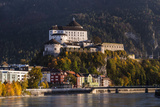 Austria, Tyrol, Kaiser Mountains, Inntal, Kufstein, Inn with Kufstein Fortress in Autumn Photographic Print by Udo Siebig