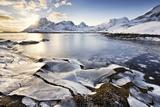 Ice, Sea, Coast, Ocean, Mountains, Lofoten, Winter, Snow, Sun, Light, Atmosphere, Panorama, Bay Photographic Print by Stefan Hefele